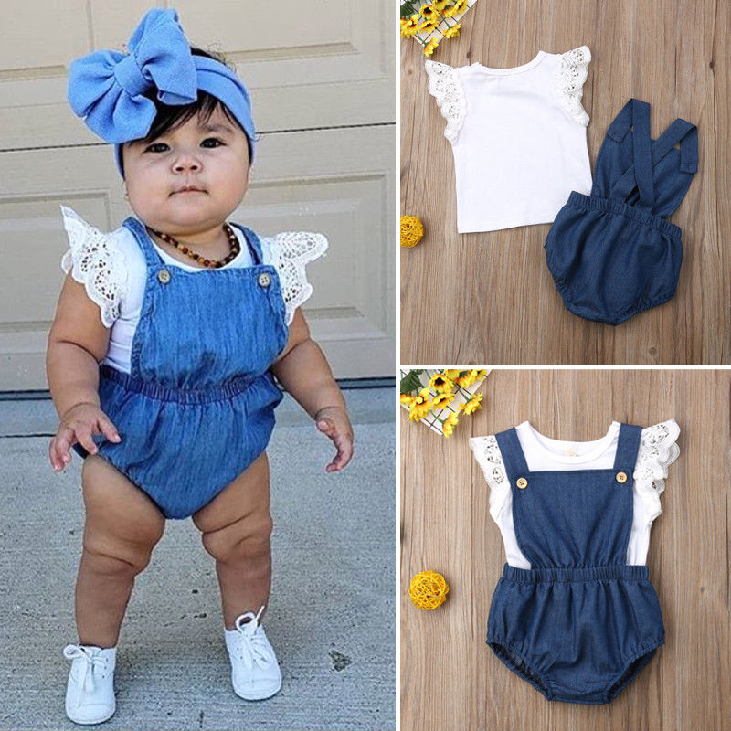 Conjunto de niña Pudcoco 0-24 M, Camiseta de encaje para niñas recién nacidas, Mono vaquero, mono, pantalones cortos, ropa
