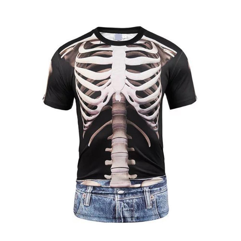 Camiseta 2020 novedad de verano para hombre, camiseta 3D de calavera divertida, camiseta de manga corta, camisetas casuales de manga corta a la moda