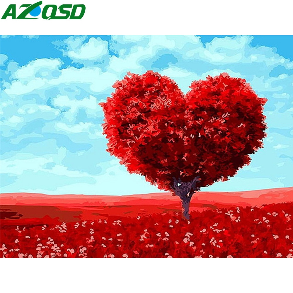 Azqsd moderno cenário pintura a óleo por números coração árvore paisagem pintura diy pintados à mão sem moldura pintura sobre tela szgd111