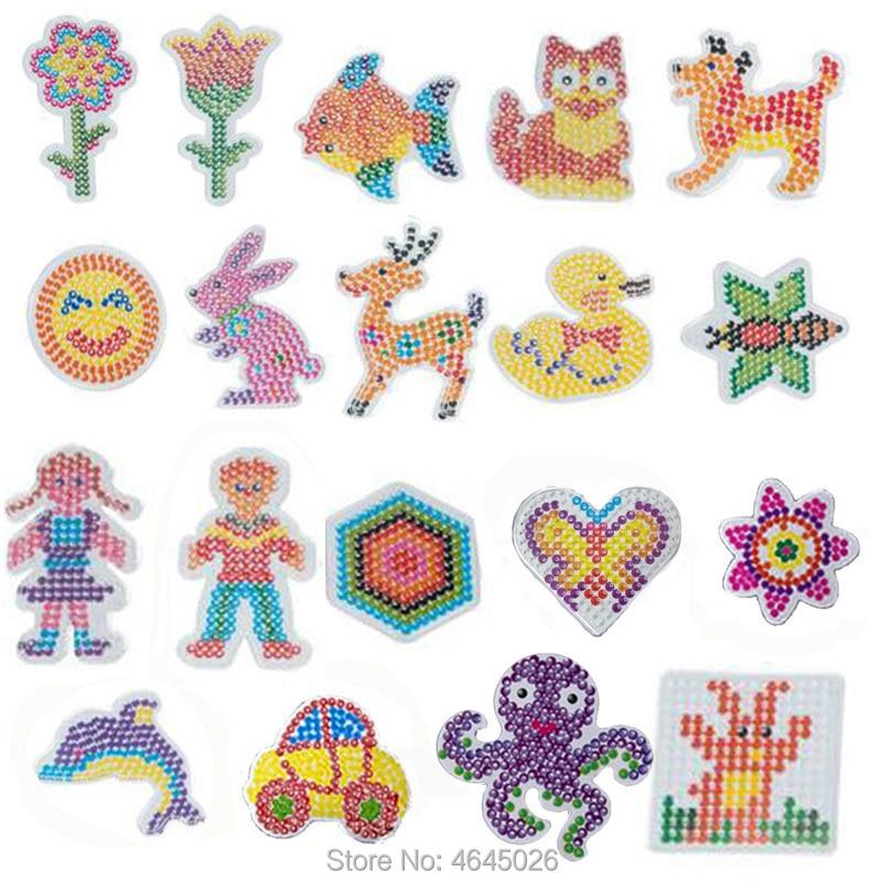 10pcs DIY Perle Hama 5mm Pegboard Ironing Beads Jigsaw Tool Peg Boards Puzzle baby Girls Kids Educat