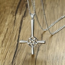 Croix inversée pentagramme étoile pendentif collier pour hommes acier inoxydable Lucifer Satan mâle bijoux avec 24 pouces