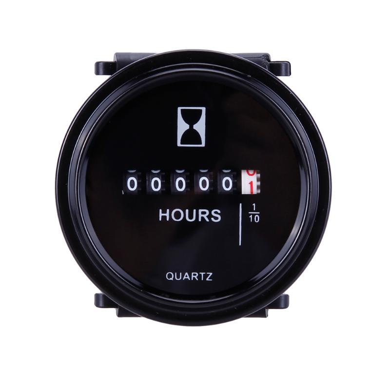 VODOOL, 12 v, 24 v, 36 v, instrumentos de medición de horas de Moto, 2 pulgadas, calibre redondo, para coches, camiones, minicontador mecánico de horas, temporizador a prueba de agua