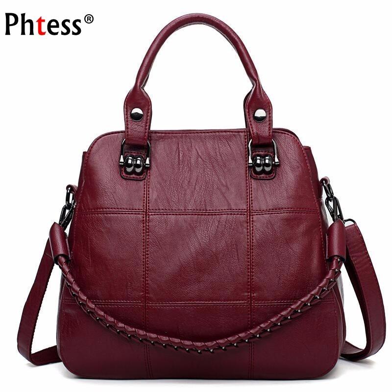 2019 Luxury Handbags Women Bags Designer Female Soft Leather Shoulder Bag Vintage Ladies Hand Bags Casual Tote Bag Sac A Main