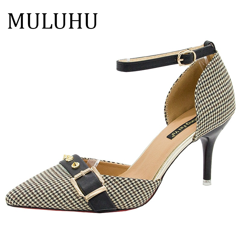 Zapatos de tacón fino MULUHU 2019 para mujer, zapatos con hebilla de punta estrecha, zapatos de vestido de tirantes, zapatos de fiesta casuales de primavera, tirachinas, triangulación de envíos