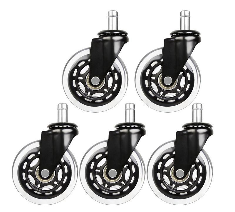 5 piezas 3 pulgadas PU ruedas de silla transparente para el hogar silla ruedas de rodillo de estilo de ricino