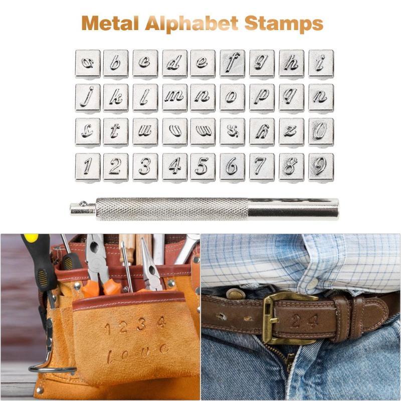 Juego de sellos de acero con números del alfabeto de 36 Uds para herramientas artesanales de cuero Kit de sellos herramientas de arte Diversión fácil