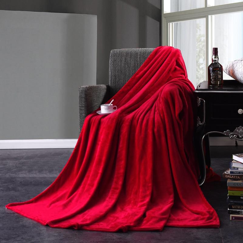 Red Flannel Blanket Soft Throw Blanket On Sofa Bed Plane Travel Plaids Adult Home Textile Solid Color Blanket Travel Blanket43