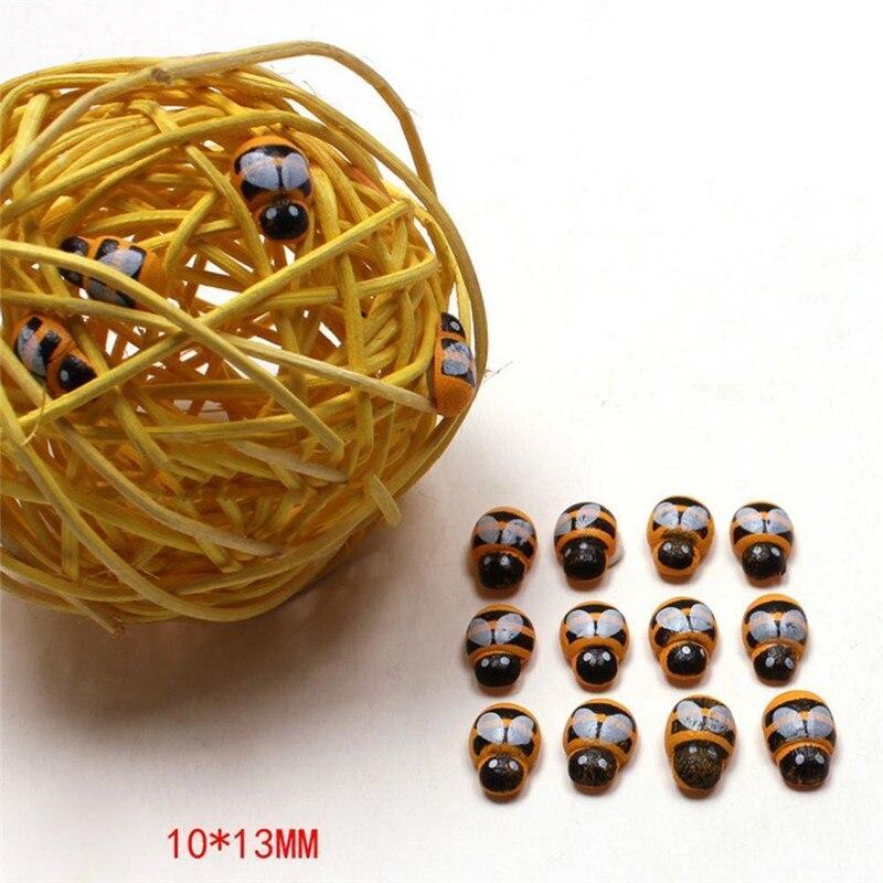 100 PCS 3D Mini Abelha De Madeira Adesivos Geladeira DIY Decoração Da Parede Roupas Scrapbooking Bonito Abelhas de Madeira Brinquedos