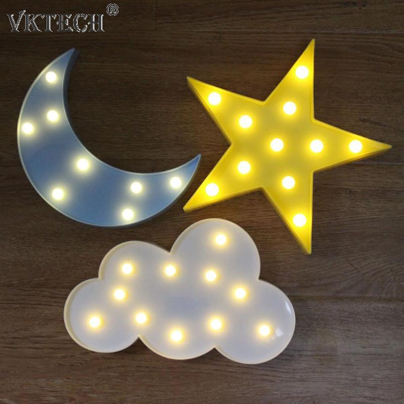 Cute Cloud Star Moon 3D LED Night Light Cloud Lamp Baby Kids Bedroom Indoor Lighting Decoration Lamp
