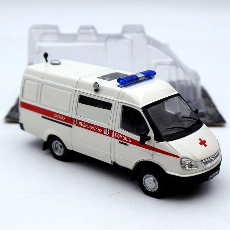 Vehículo de servicio de ambulancia DeAgostini 143 Russia Gazelle #11 GAZ-32214 modelos de coches de juguete fundido a presión