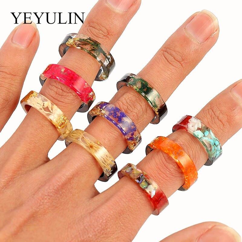 Anillos de nuevo diseño para Mujeres Hombres Vintage de resina de madera clara hecha a mano flor seca Epoxy anillos étnicos PartyJewelry regalos