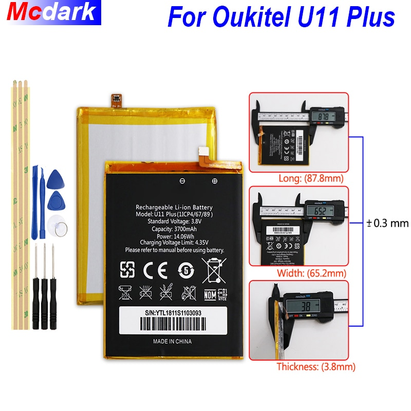 Mcdark 3700mah bateria de backup para oukitel u11 plus batterie bateria acumulador akku accupil celular + ferramentas