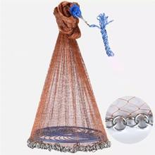 Upgraded Flying Disc Korean Hand Cast Fishing Net with Chain Sinkers PE Line Throw Fishing Net Diameter 420 480 540 600 720cm