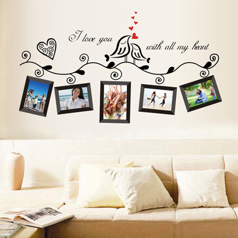 Фоторамка Семья Дерево Птица Съемная наклейка-цитата на стену Наклейка домашний декор
