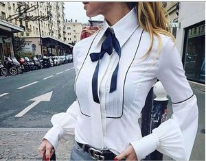 Office Bow Tie Blouse Women Lantern Sleeve White Button Necktie Shirts Female Elegant Work Shirt Casual Tops New 2020 Spring