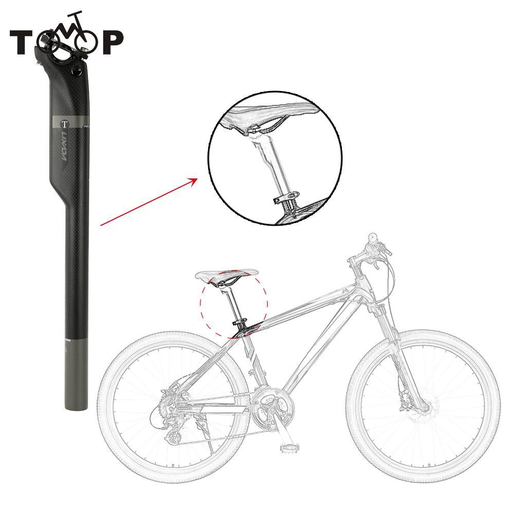Lixada bicicleta sillín 27,2mm/30,8mm/31,6mm * 410mm 3K fibra de carbono de camino de MTB bicicleta asiento silla tubo accesorios para bicicletas