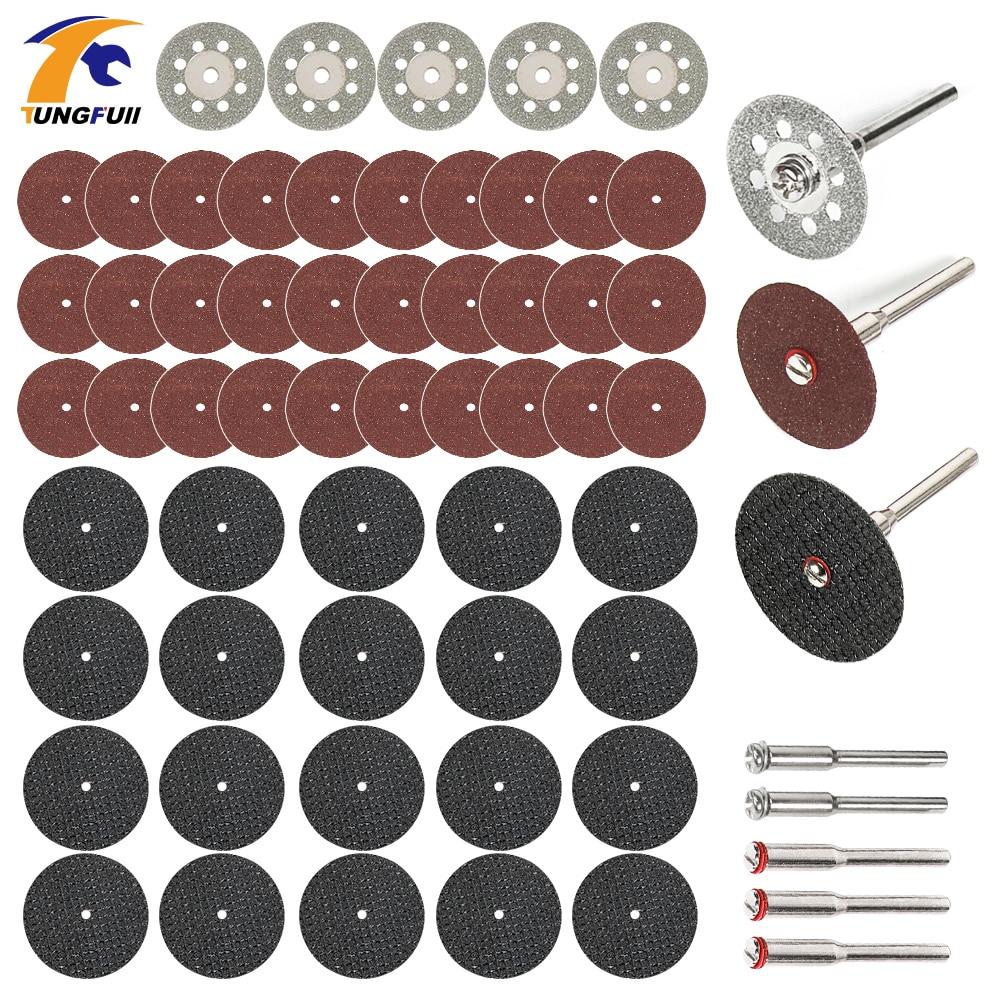 60бр. Диамантени режещи дискове шлифовъчни дискове циркуляр циркуляр дървообработване метал Dremel мини бормашина ротационен инструмент аксесоари