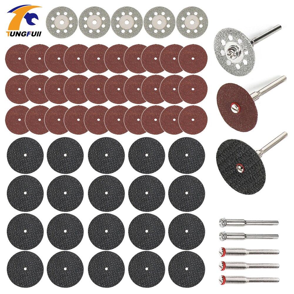 60pcダイヤモンドカッティングディスク研磨砥石丸鋸刃木工金属ドレメルミニドリル回転工具アクセサリー