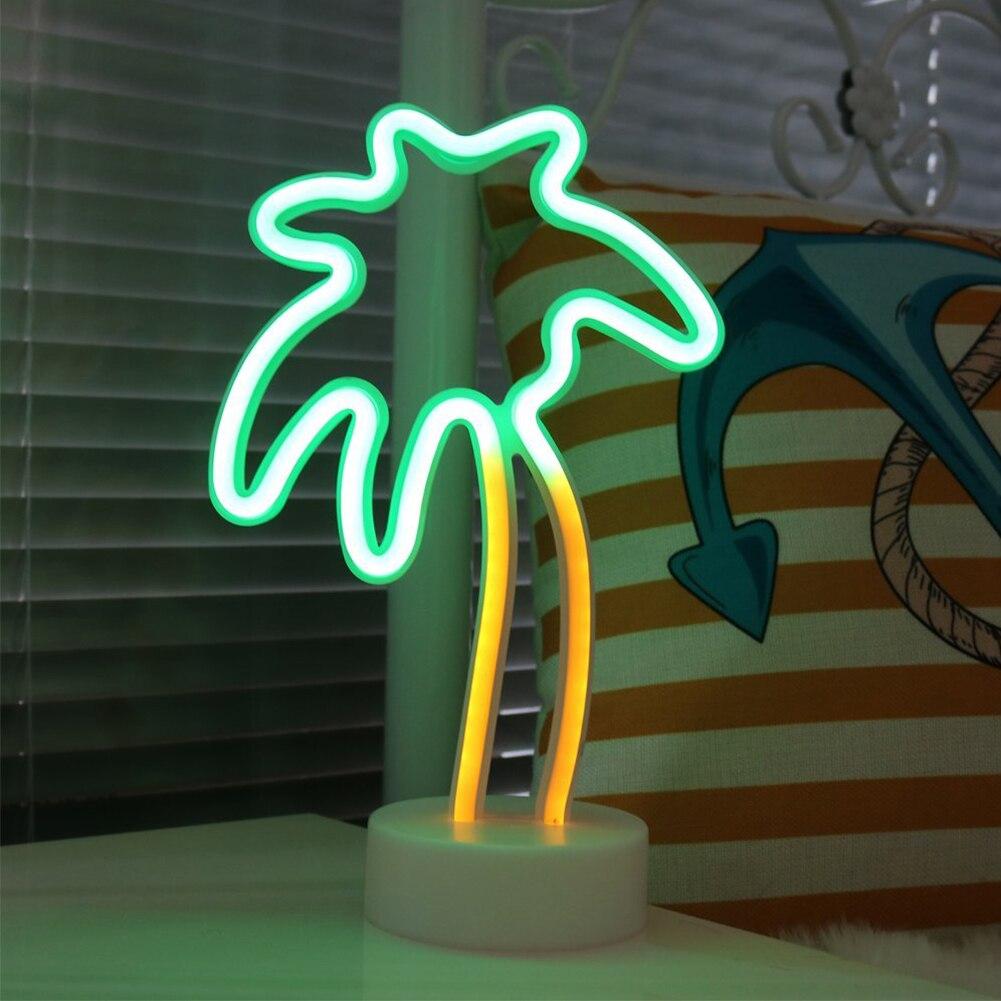 De palma de coco árbol Led neón señales de luz con soporte Base para fiesta decoraciones de mesa casa decoración regalo de los niños lámpara de noche