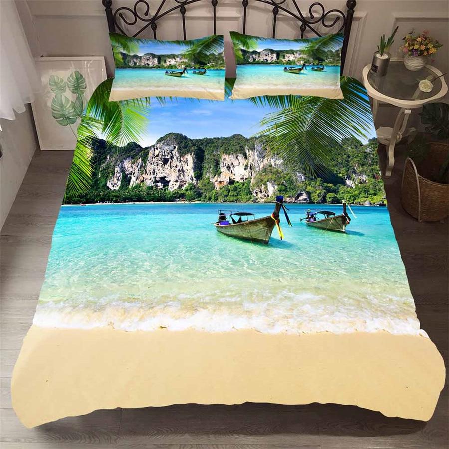 Juego de cama juego de edredón estampado 3D cama conjunto ola marina playa árbol hogar Textiles para adultos ropa de cama con funda de almohada # HL16