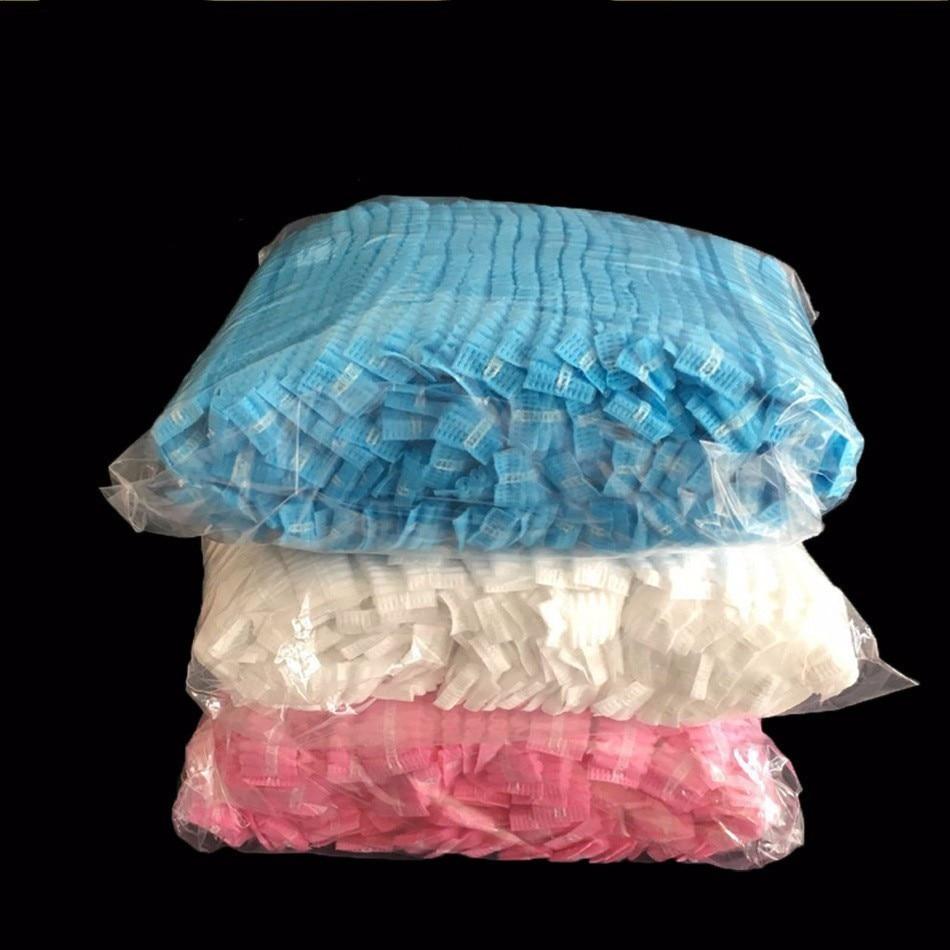 100PCS Double Ribbon Non-woven Disposable Shower Caps Pleated Anti Dust Hat Women Men Bath For Spa Hair Salon Beauty Accessories