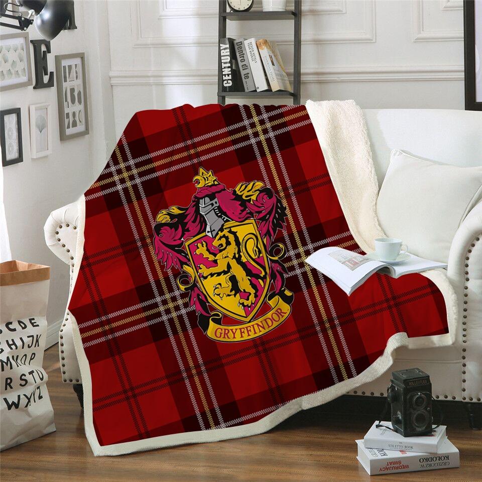 3D Hogwarts School Crest Blanket Scotland Pattern Custom Printed Fleece Plush Throw Blanket Bedspread Blanket Microfiber