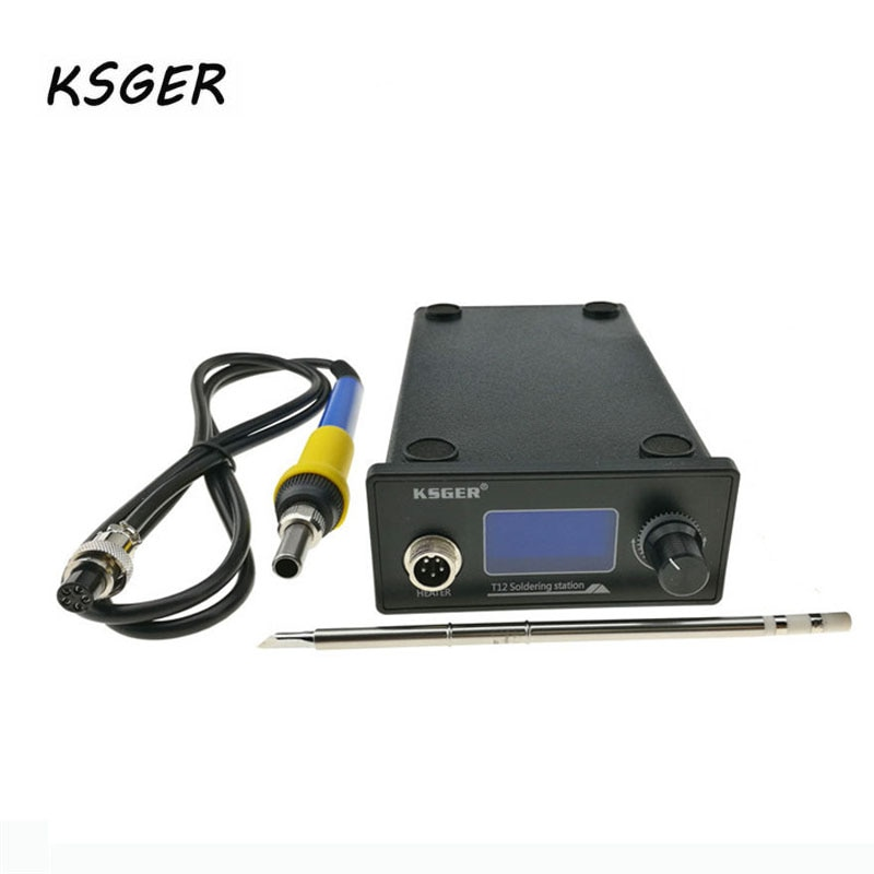 Ksger v2.01 stm32 oled controlador de temperatura digital estação solda ferro elétrico + T12-K pontas ferro solda novo