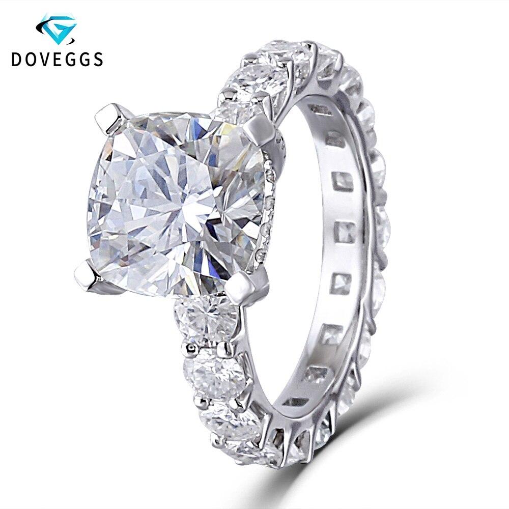 DovEggs 14k oro blanco Centro 2ct quilates F incoloro moissanita diamante anillos de compromiso para las mujeres eternidad bajo Halo anillo de oro