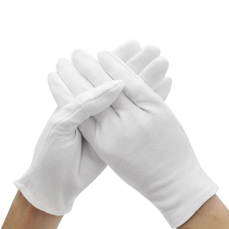 6 пар белых перчаток, хлопковые рабочие перчатки, ювелирные изделия, легкие, высокое качество