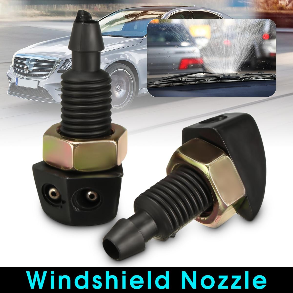 Bico pulverizador para para-brisa frontal, 2 peças, universal, para-brisa para carros, plástico preto
