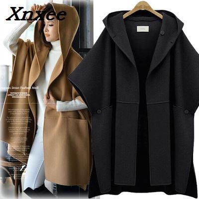 Moda mujer invierno con capucha mangas de murciélago abrigo de lana prendas de vestir exteriores capa ponchos capa con carácter chal abrigo Mujer