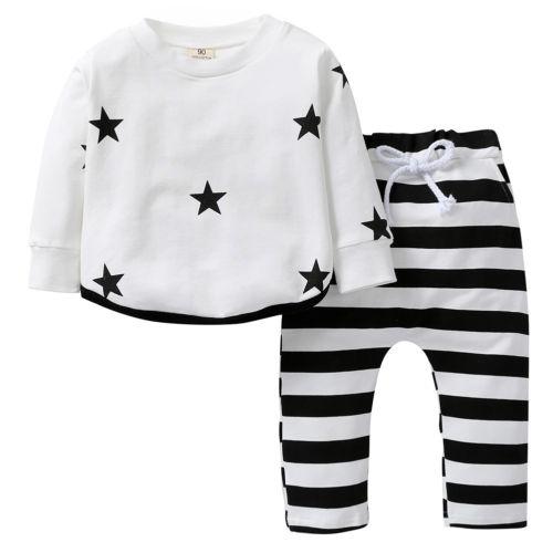 Brand New Newborn Toddler Infant Baby Girls Boys Star Print Long Sleeve Sweatshirt Tops + Leggings Outfit Clothes Set 0-24M