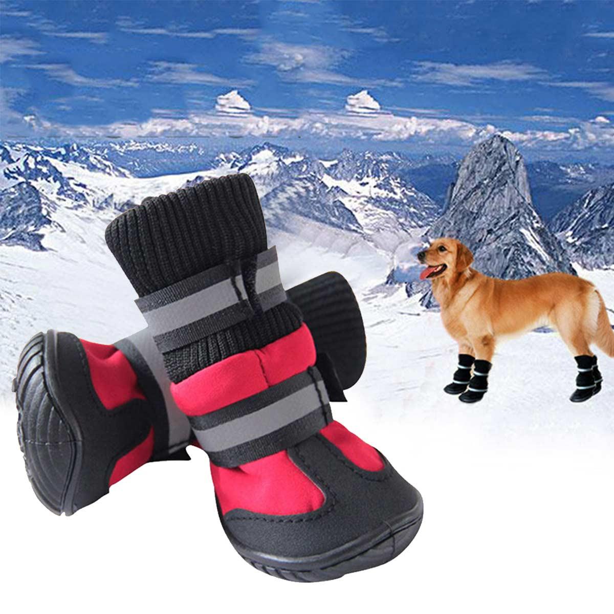4/Pcs Dog Shoes High Waist Golden Retriever Samos Husky Waterproof Non-Slip Winter Dog Feet Large Dog Cotton Boots Pet Shoes