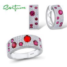 Santuzza prata conjunto de jóias para as mulheres 925 prata esterlina cintilante pedras vermelhas brincos anel conjunto glamourosa moda jóias