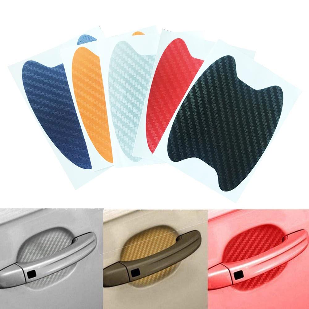 4 шт. универсальные автомобильные наклейки на дверные ручки из углеродного волокна, виниловая пленка, наклейки на дверные ручки для кузова а...
