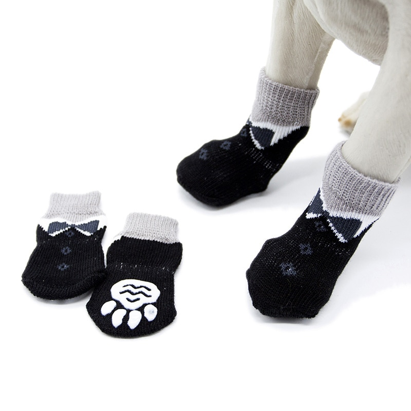 Zapatos de punto de invierno cálidos para interior para perros y gatos, zapatos gruesos de algodón de fondo suave para perros pequeños y gatos, Calcetines antideslizantes para mascotas, suministros para mascotas