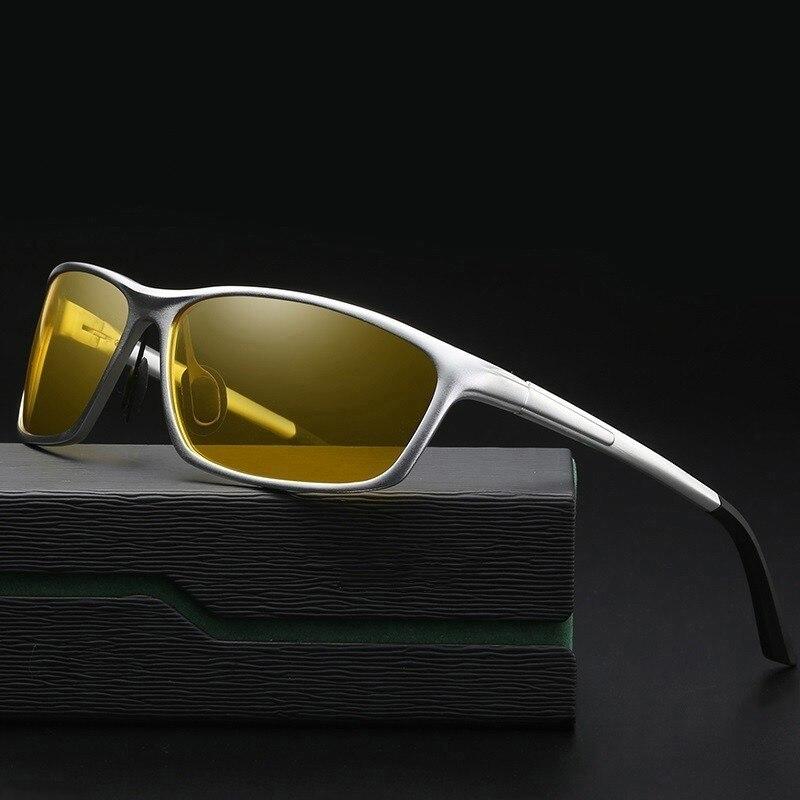 AORON, gafas de visión nocturna para hombre, montura de aluminio y magnesio, gafas de visión nocturna polarizadas para conducir en coche, gafas antideslumbrantes 2179