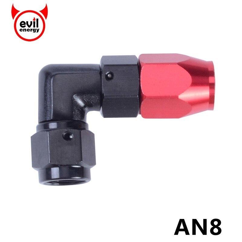 A energia do mal an8 impôs encaixes de adaptador 8 um 0 45 90 graus de alumínio encaixe mangueira fim óleo acessórios adaptador mangueira combustível
