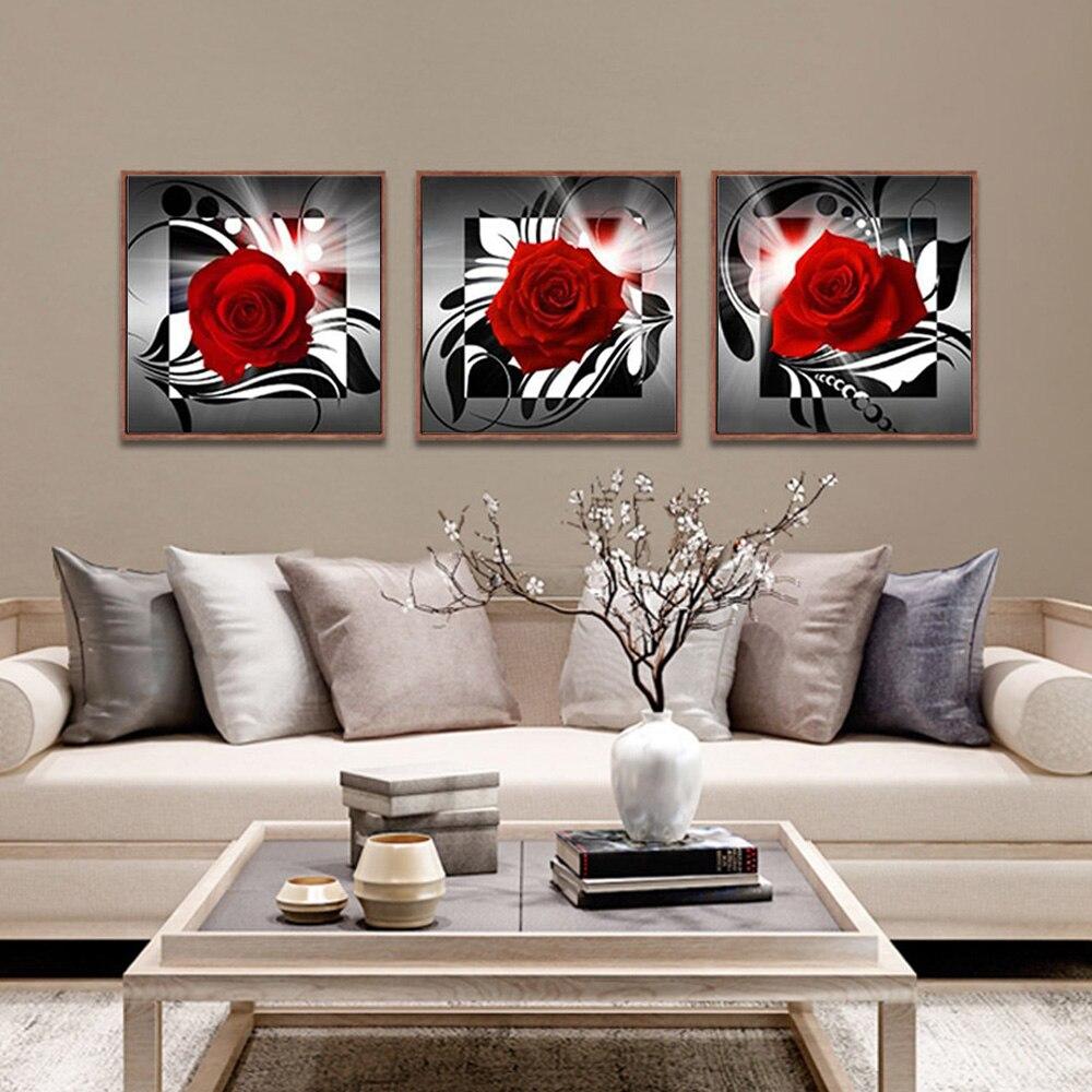 Cuadros de lienzo para decoración del hogar, sala de estar moderna, 3 paneles, rosa roja, flores, pintura impresa, póster artístico de pared sin marco