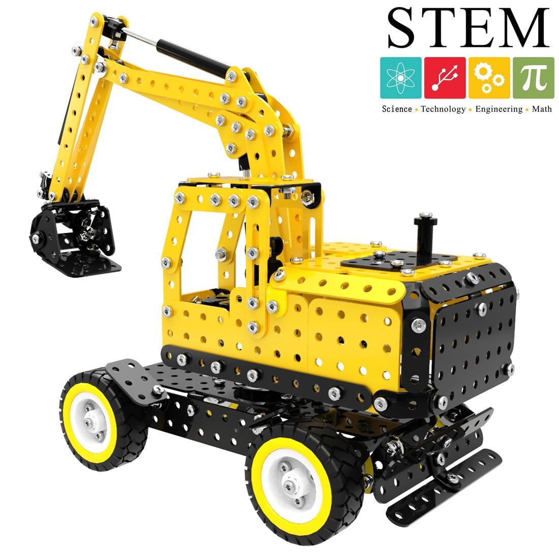 502 pçs máquina escavadora forma diy aço inoxidável metal bloco de construção kit haste a vapor brinquedos empilhamento blocos para crianças meninos SW-007