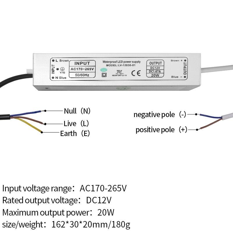 12V alimentation IP67 étanche transformateur de courant constant lampe à LED ballast IC stable 10 W/20 W/30 W/45 W/60 W/80 W/100 W