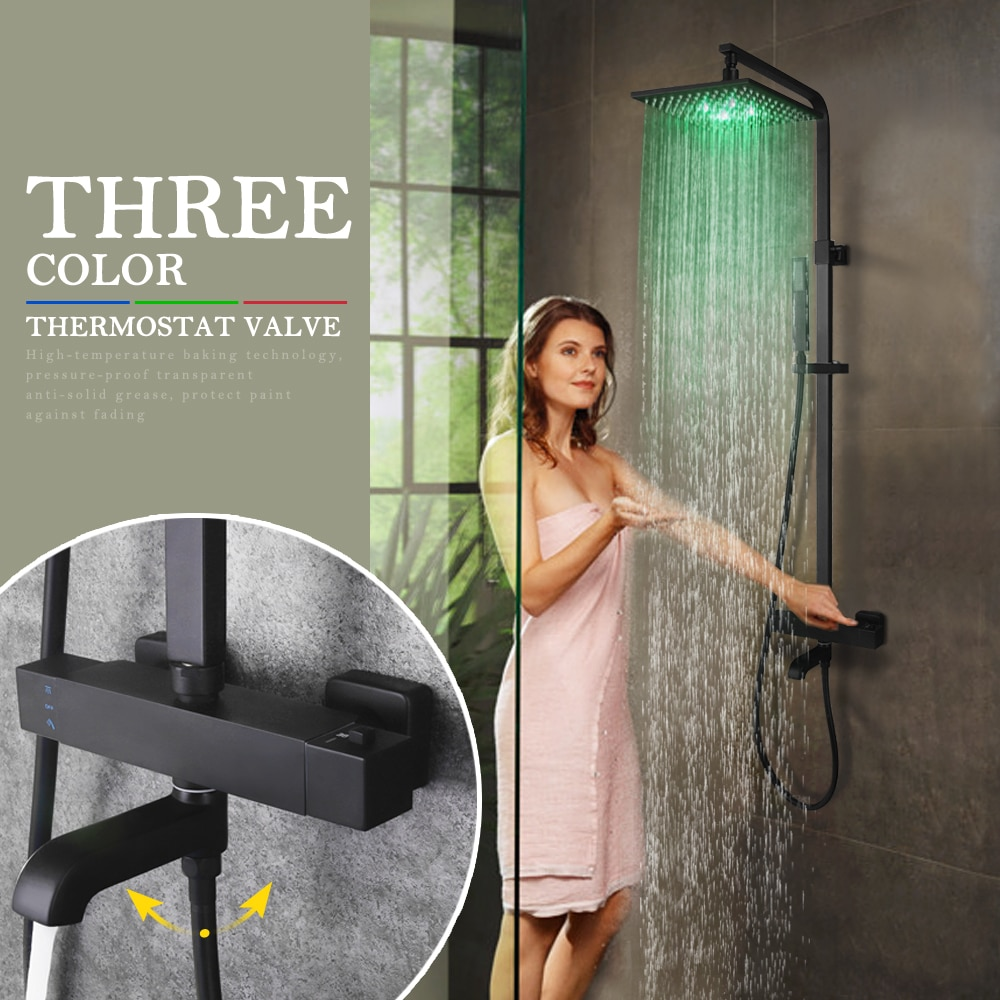 SKOWLL Thermostatic Matte Black Bathroom Shower Set Faucet with 10