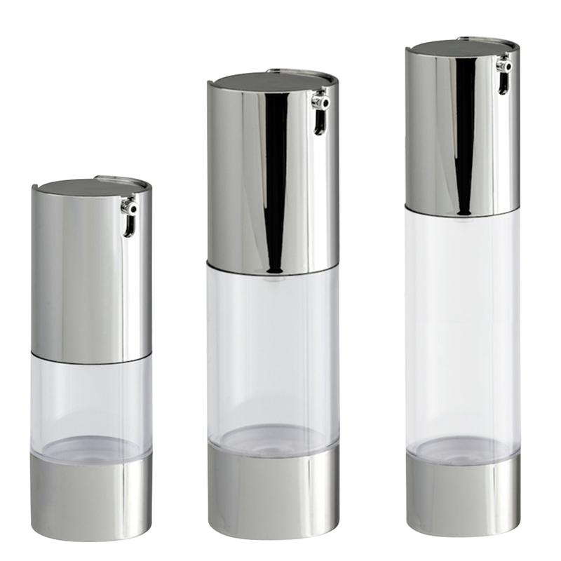 Botella de plata transparente sin aire, frasco de crema de presión, botella de emulsión, prensa de loción, botellas de plástico, dispensador de botellas cosméticas