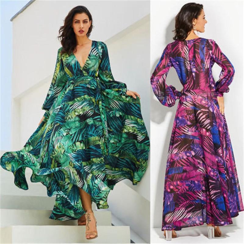 Nuevo estilo USA para mujer Boho largo Maxi vestido fiesta playa vestido Sundress attractivveleaf vestidos estampados