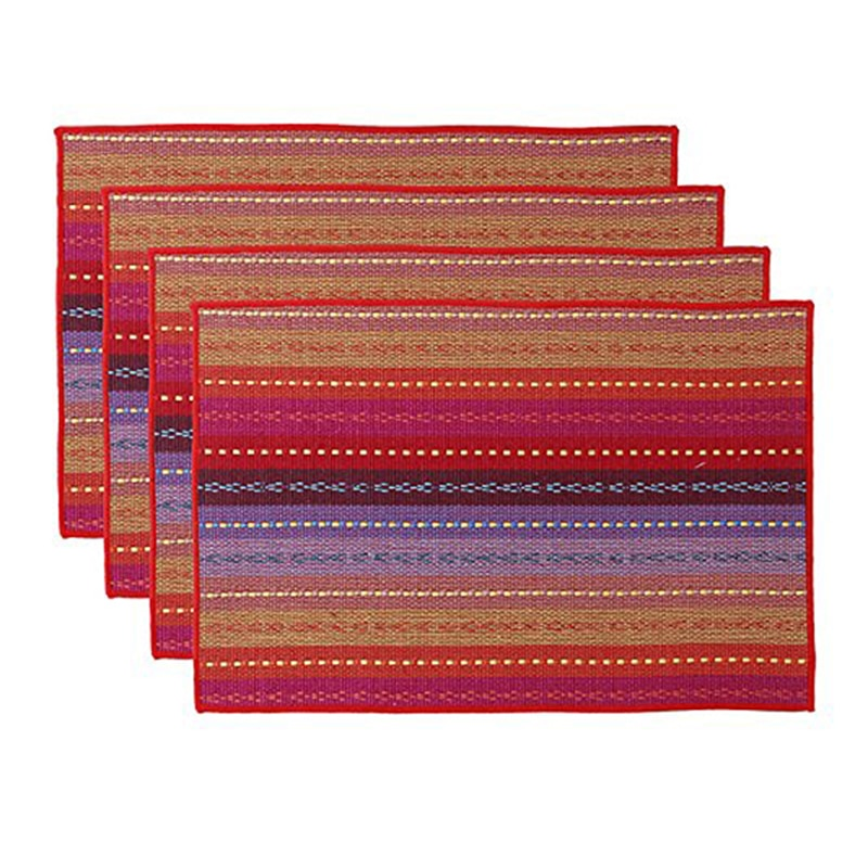 Napperon en coton tissé anti-dérapant isolation thermique tissu lavable cuisine Table à manger tapis ensemble de 4-18x12inch rouge