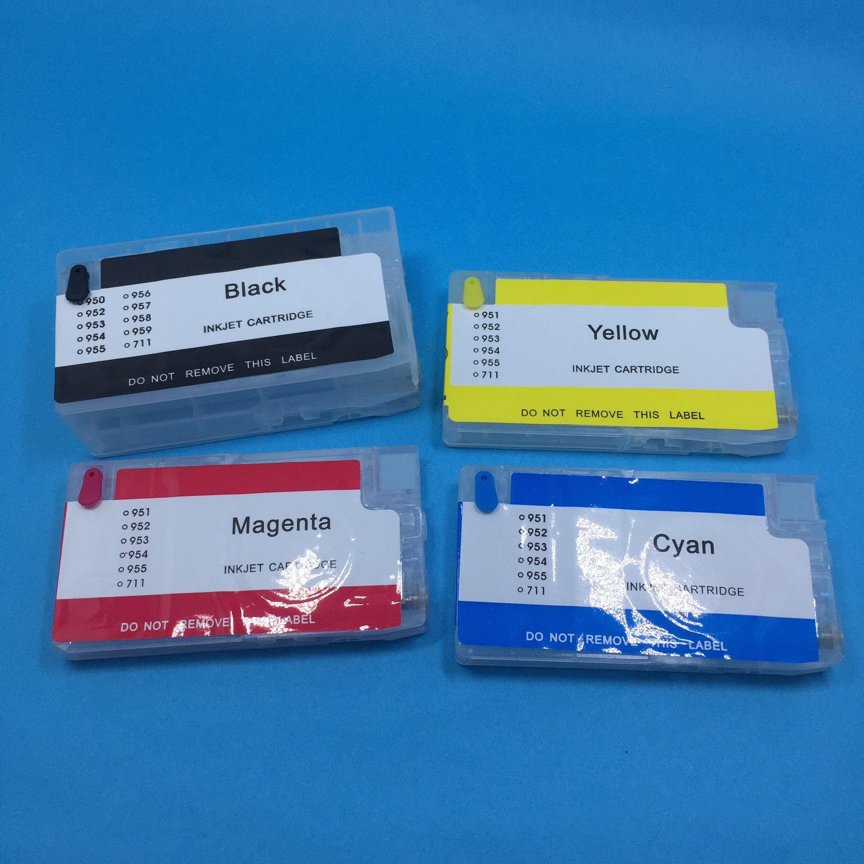 Yotat (sem chip) para hp 953 954 955 952 cartucho de tinta recarregável para hp953 hp954 officejet pro 8730 8740 8735 8715 8720 impressora