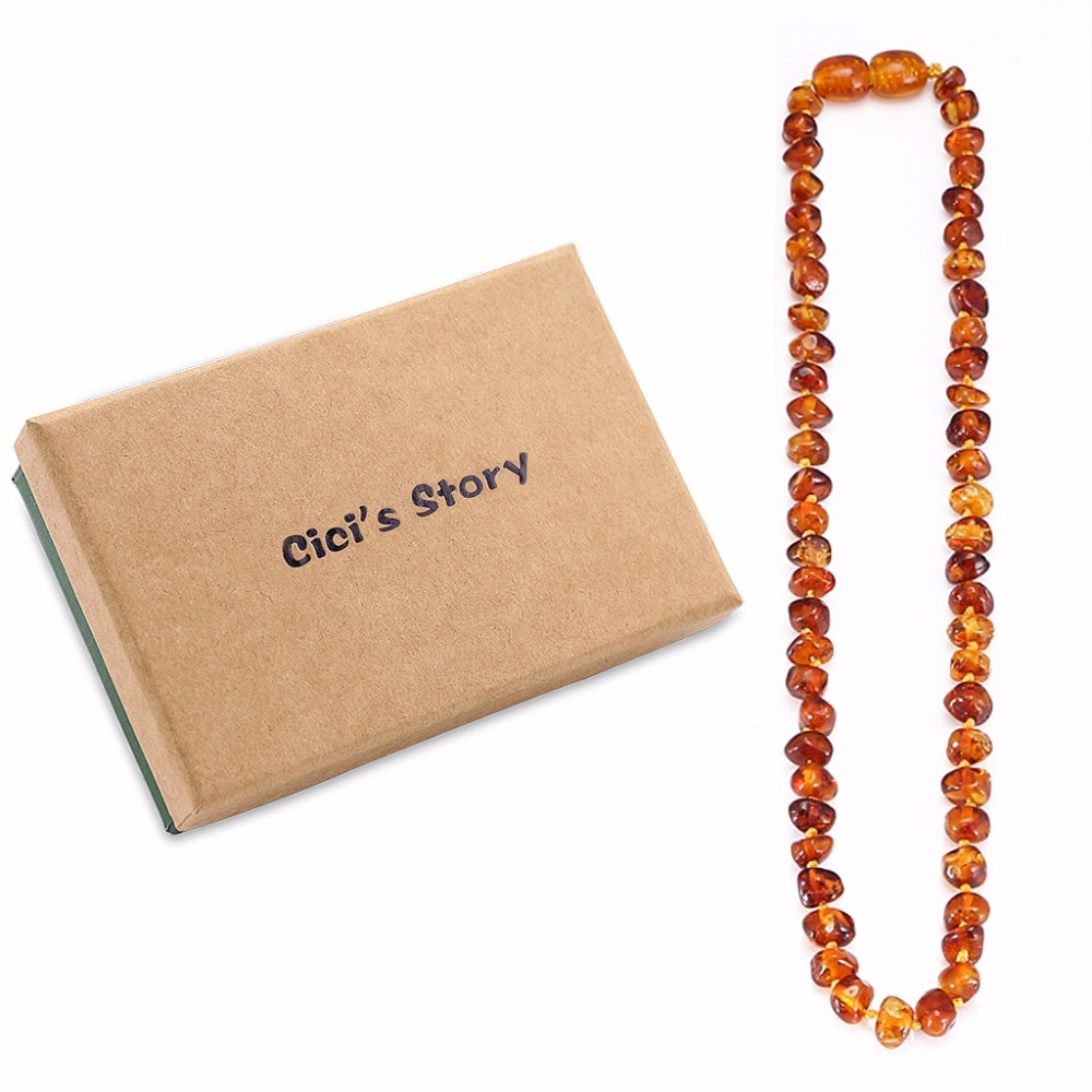 Baltic Amber Teething Necklace for Baby Size 14-35cm - Gift Box - 4 Colors yoowei 5mm amber women necklace for christmas new year gift round gold baltic amber jewelry s925 silver beads boutique wholesale