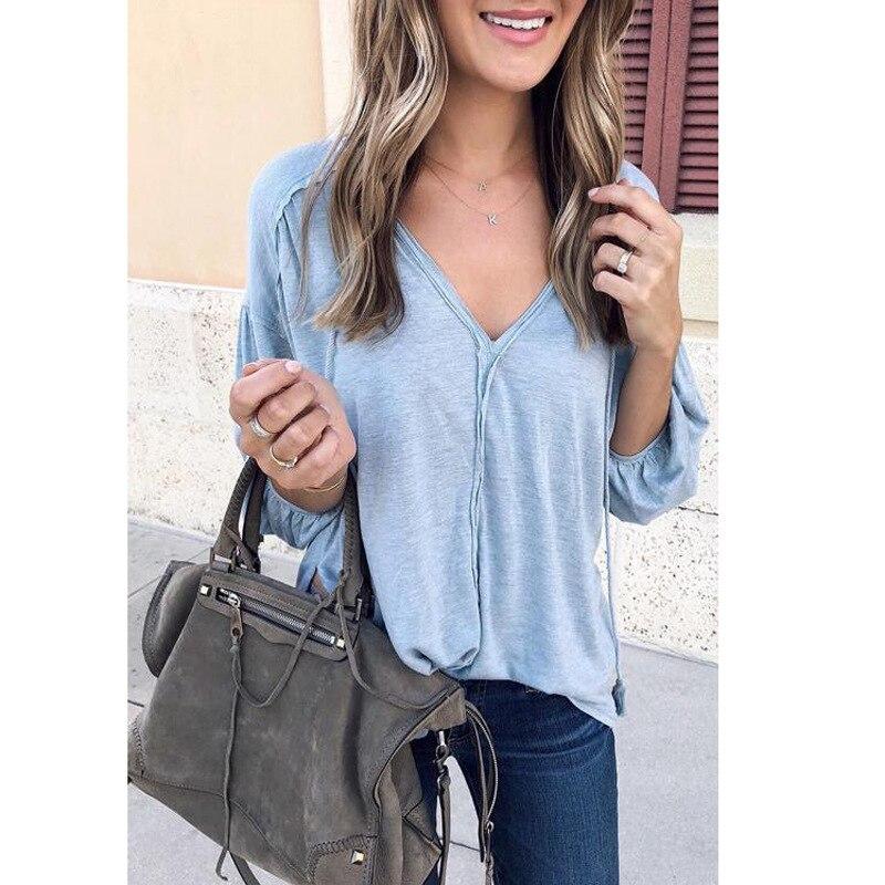 Blusa holgada de Color liso con cuello en V, blusas de Manga larga para primavera para mujer, ropa barata, Blusa China, Manga comprimida, estilo coreano Ey *