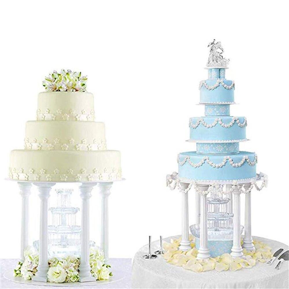 4pcs Pillars Wedding Cake Stands Cake Decorating Tools Multi-layered Roman Column Support Stand Decor 7.5cm 12.5cm 17cm