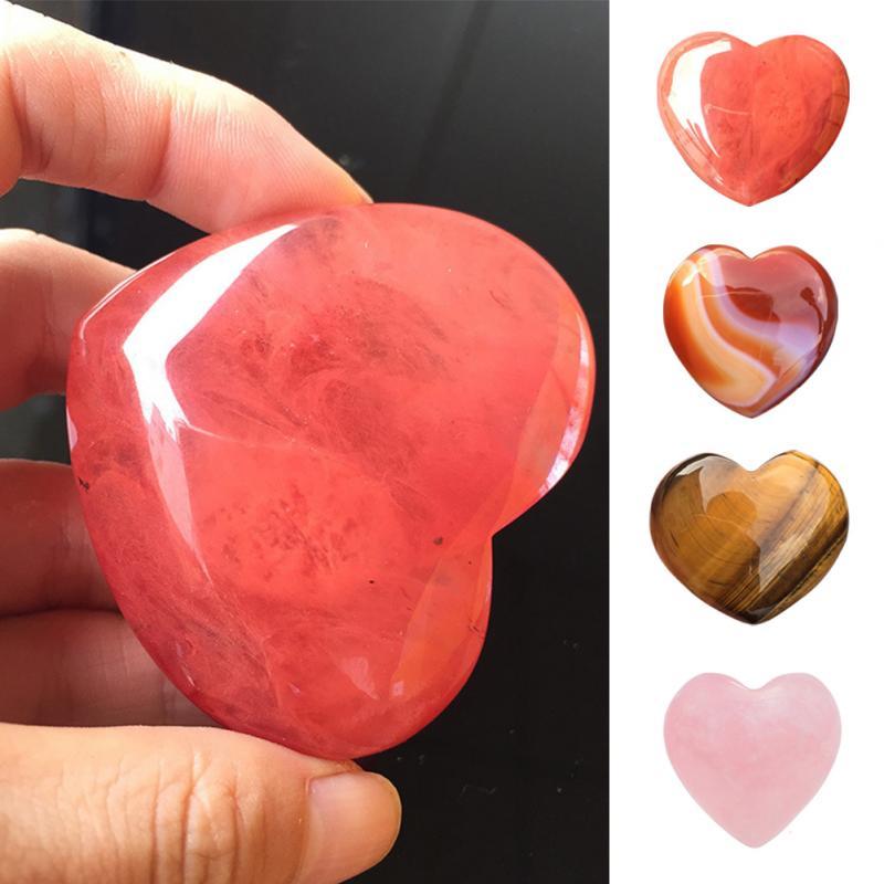 1 unidad de piedra Natural en forma de corazón cuarzo rosa a rayas Agata cristal piedras preciosas curativas talladas en forma de corazón 2 tamaños #0117 Pequeña Piedra